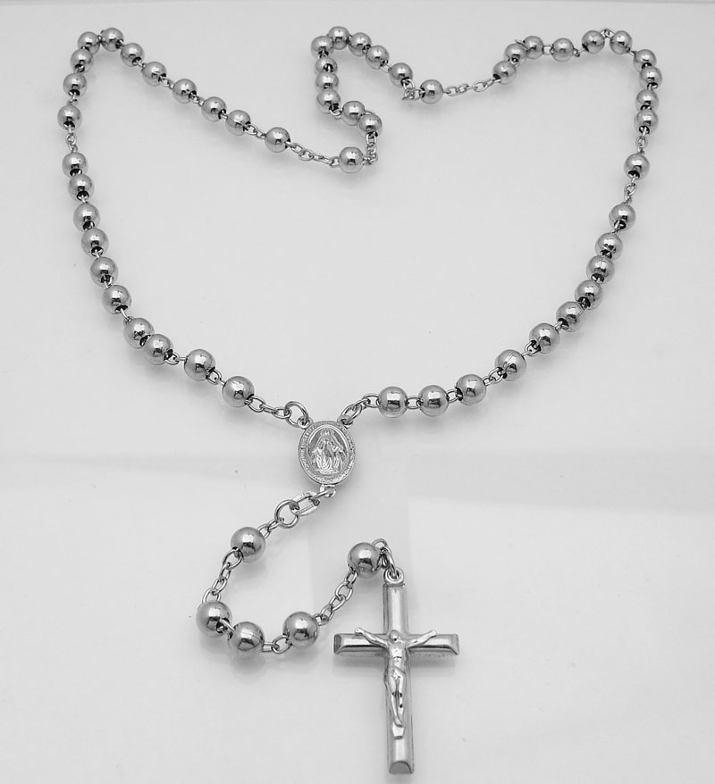 6mm mens platinum clad 925 silver rosary chain necklace cross store categories aloadofball Image collections