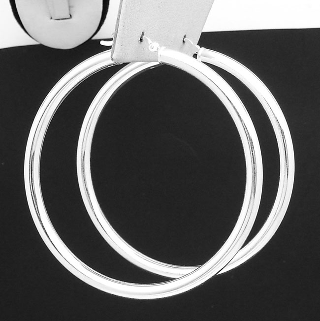 Stainless Steel Polished /& Textured Round Hoop Earrings 4mm x 60mm