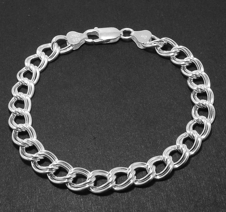 Sterling Silver 4mm Polished Double Link Charm Bracelet