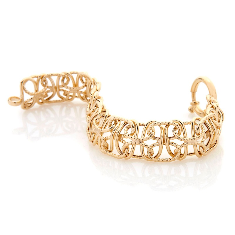 Technibond Diamond Cut Railroad Link Bracelet 14K Yellow Gold Clad Silver 925