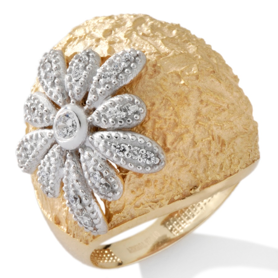 Technibond Pave Set CZ Cubic Zirconia Curb Ring 14K Yellow Gold Clad Silver