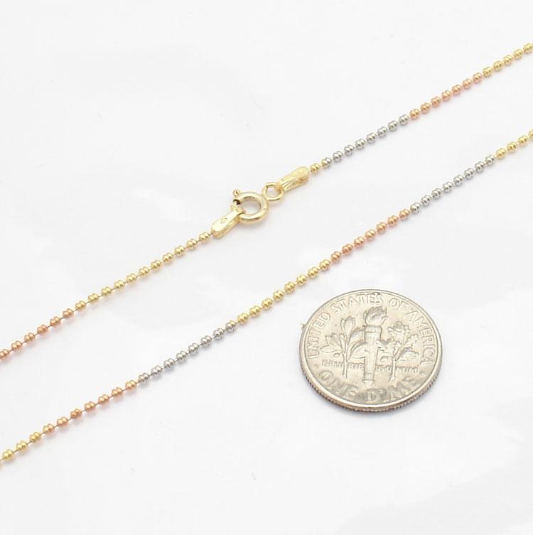 20 Technibond Fancy Bead Ball Chain Necklace 14K TriColor Gold Clad