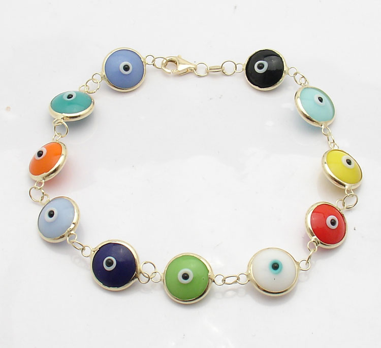 Multi Color Evil Eye Good Luck Bracelet Solid Real 14K Yellow Gold ALL SIZES