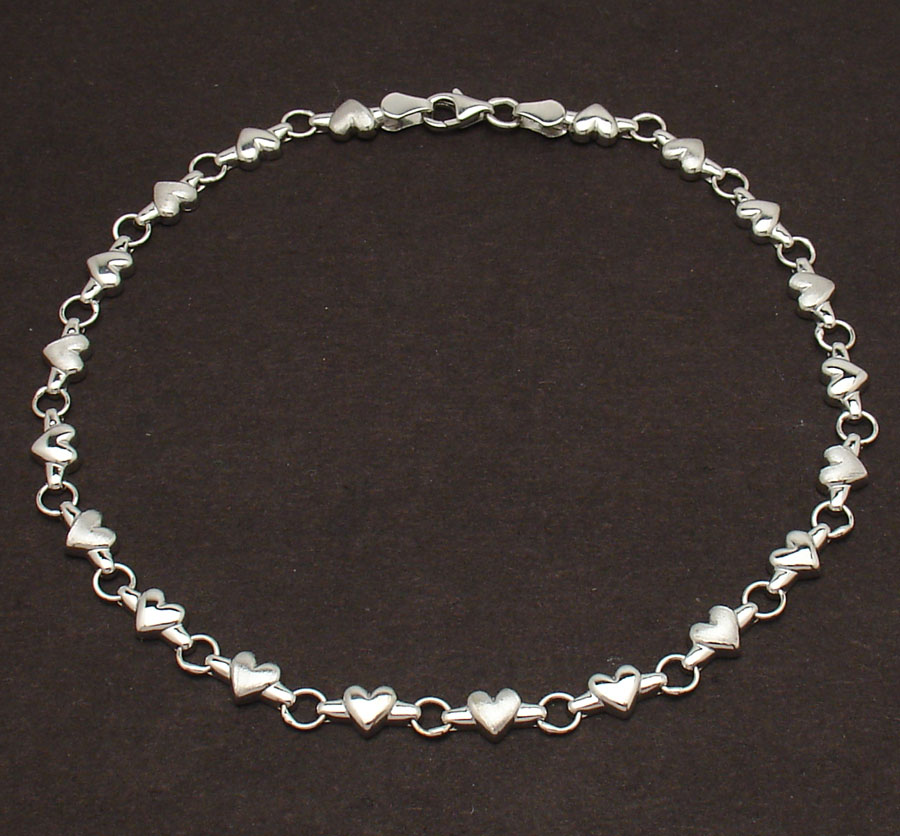 Details About Solid Shiny Satin Heart Link Charm Anklet Ankle Bracelet Real 14k White Gold