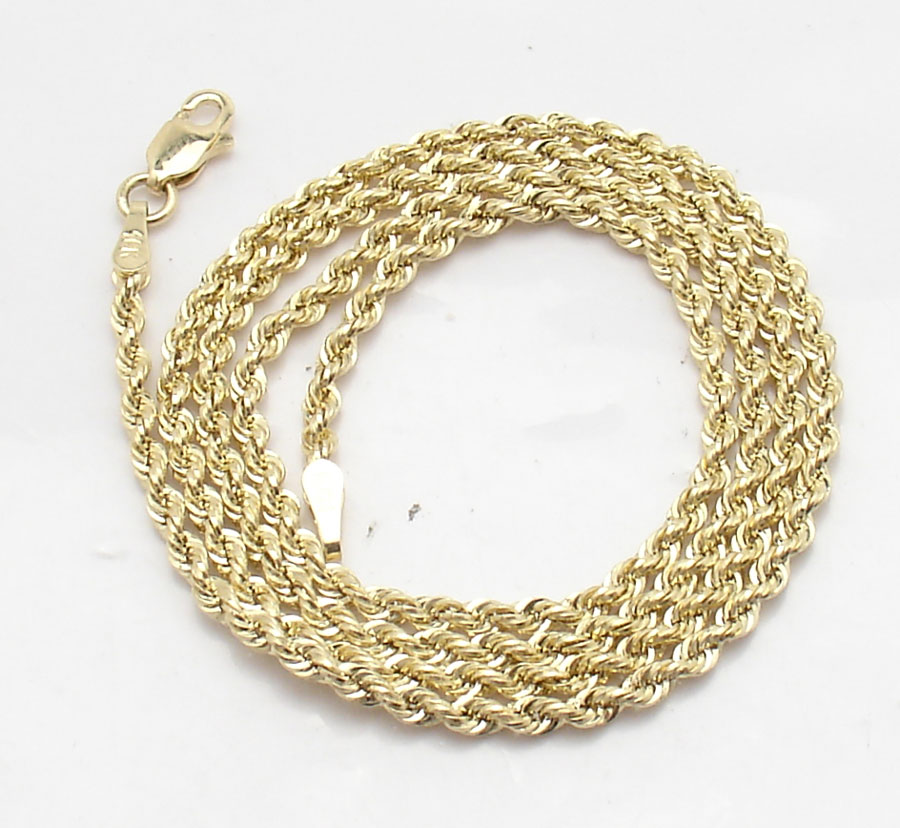 3b5f0013334 Details about 1.7mm Solid Sparkle Glitter Diamond Cut Rope Chain Necklace  Real 10K Yellow Gold