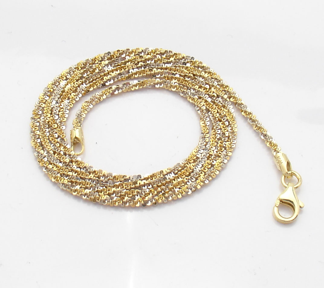 White Gold Chain Bracelet: Technibond Sparkle Glitter Chain Necklace 14K Yellow White