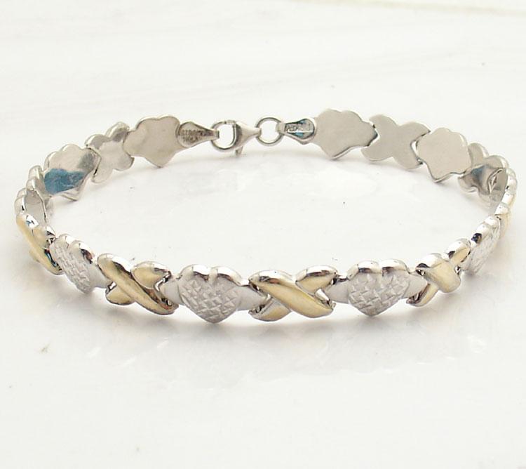"Hearts And Kisses Bracelet: 8"" Diamond Cut Hearts & Kisses Bracelet Real Sterling"