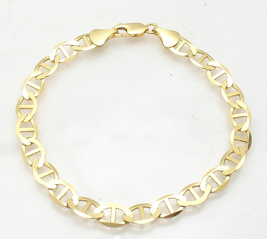 Gucci Link Chain Ebay >> 8mm Mens Flat Mariner Gucci Link Chain Bracelet Real 10k Yellow Gold