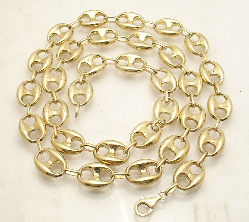 79df2aef5 Details about 12mm Puffed Mariner Anchor Gucci Link Chain Necklace Real  Solid 10K Yellow Gold