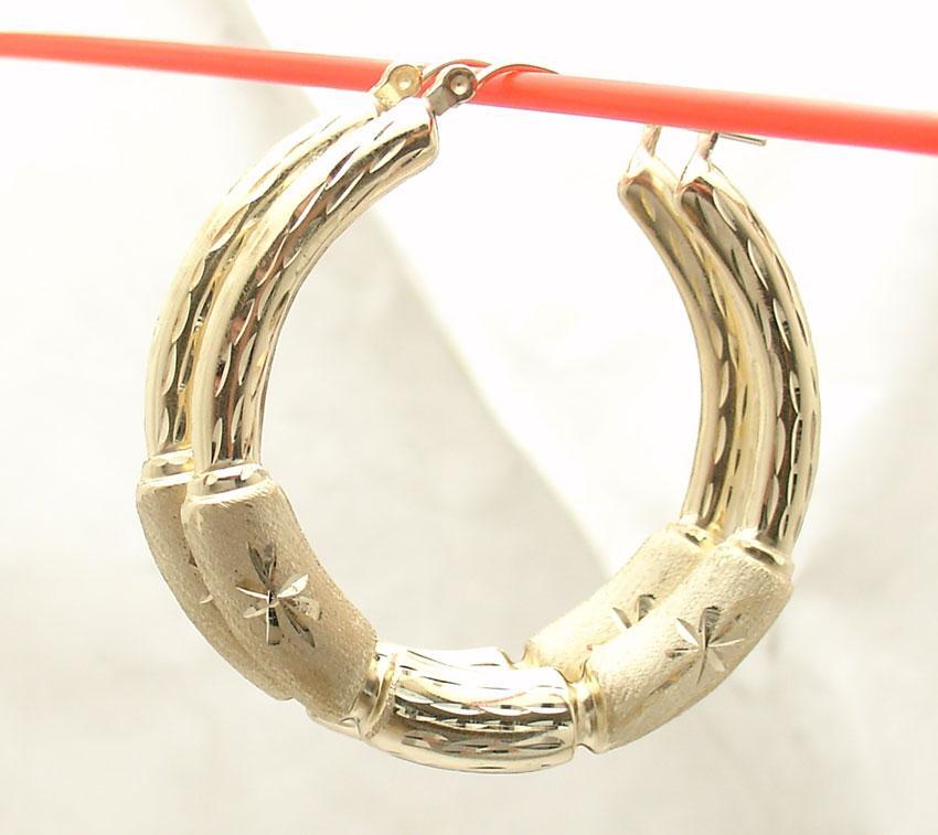 REAL 10K Yellow Gold  28mm Graduated Bamboo Hoop Earrings 2.9gr