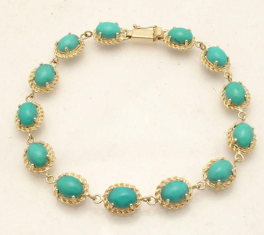 Natural Green Peridot Gemstone Tennis Bracelet Real Solid 14K Yellow Gold QVC