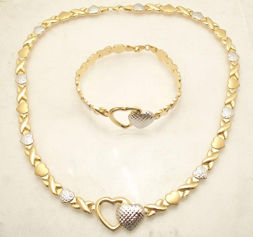 Hearts And Kisses Bracelet: Diamond Cut Hearts & Kisses Bracelet Necklace Set 14K Two
