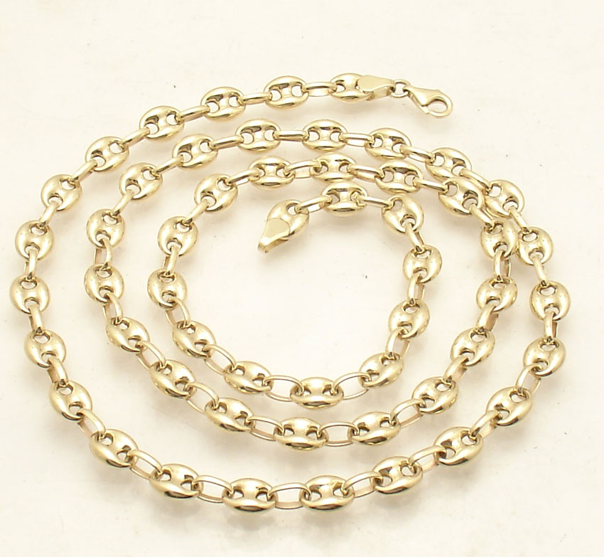 bb95b96d9 Details about 6.5mm Puffed Mariner Anchor Gucci Link Chain Necklace Real 14K  Yellow Gold