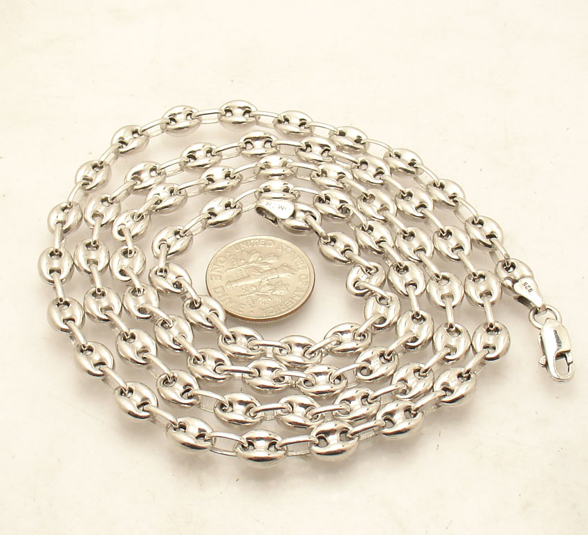 0727306399c5b9 Details about 6mm Puffed Gucci Mariner Link Chain Necklace Anti-Tarnish  Real Sterling Silver