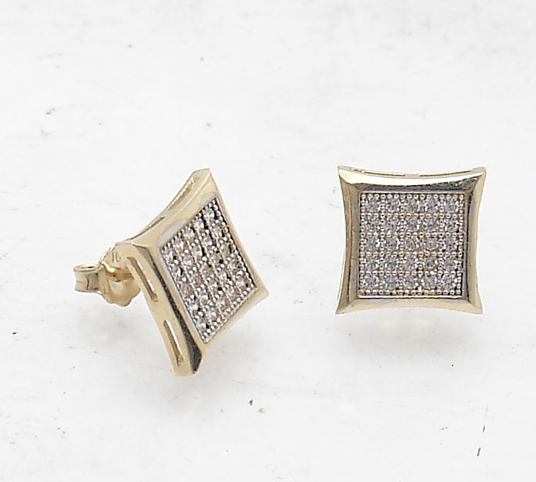 20460f2bc05 10mm Micro Pave Set Square Flat Screen Stud Earrings Real 10K Yellow ...