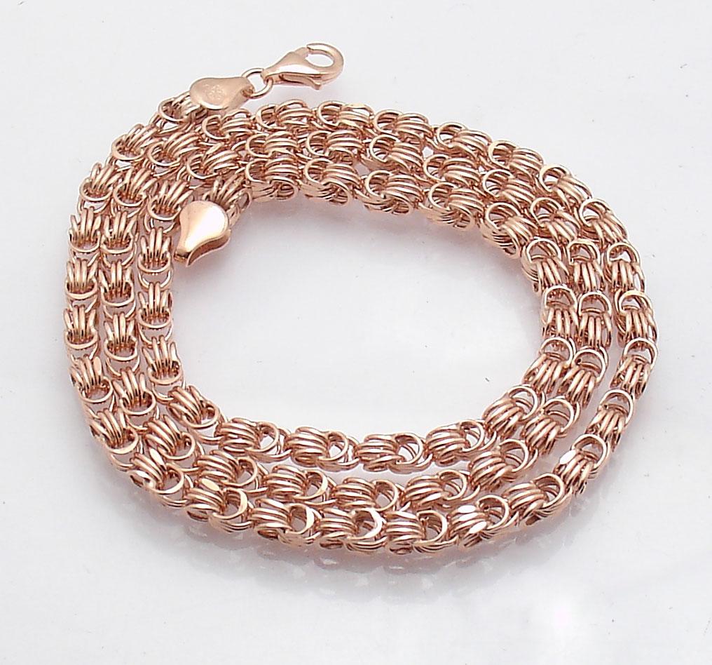 18 Quot Technibond Square Byzantine Chain Necklace 14k Rose