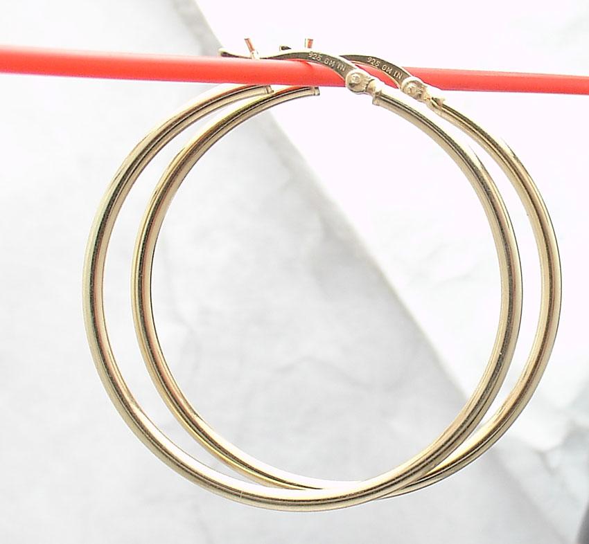 "1 1//2/"" Technibond Shiny Plain Round Hoop Earrings 14K Yellow Gold Clad Silver"