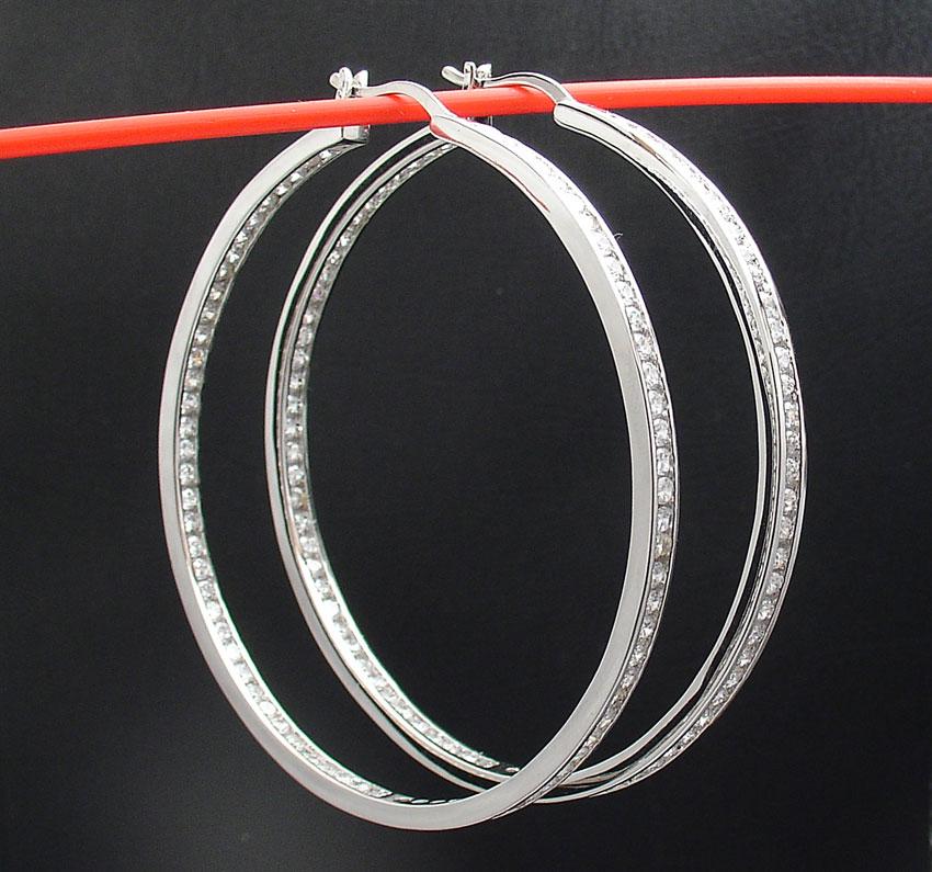 "1.5/"" Inside Out Diamonique CZ Hoop Earrings Anti-Tarnish 925 Sterling Silver QVC"