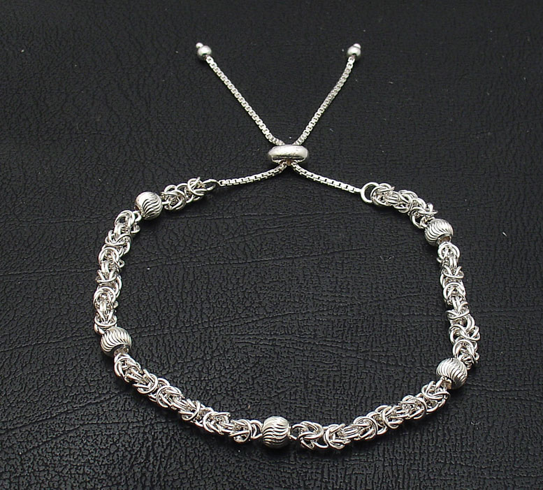 Adjustable Double Strand 925 Sterling Silver Box Chain Bracelet 3mm Beads