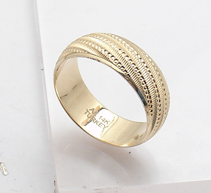 Polished Hammered Diamond Cut Band Ring Real Solid 14K Yellow Gold QVC Sz 6 7