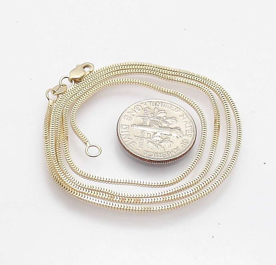 """14k Yellow Gold 20/"""" MILANO Snake Pendant Chain Necklace   2.5 gram 1.1 MM MIL010"""