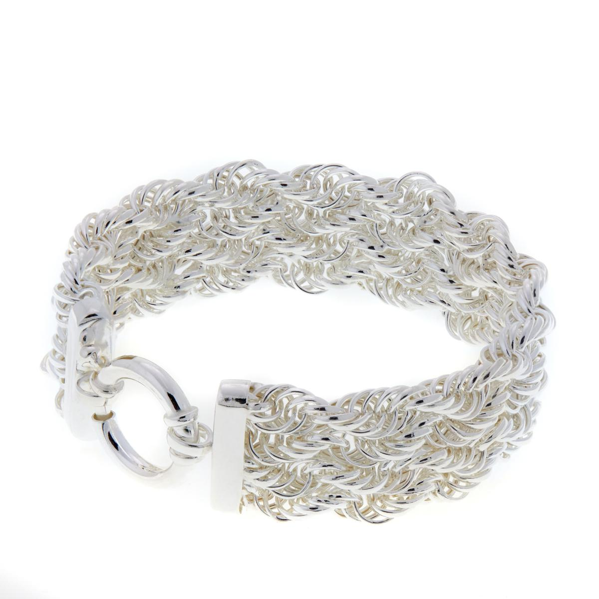 Sevilla Silver All Shiny Twisted Rope Chain Bracelet Real 925 Sterling Silver