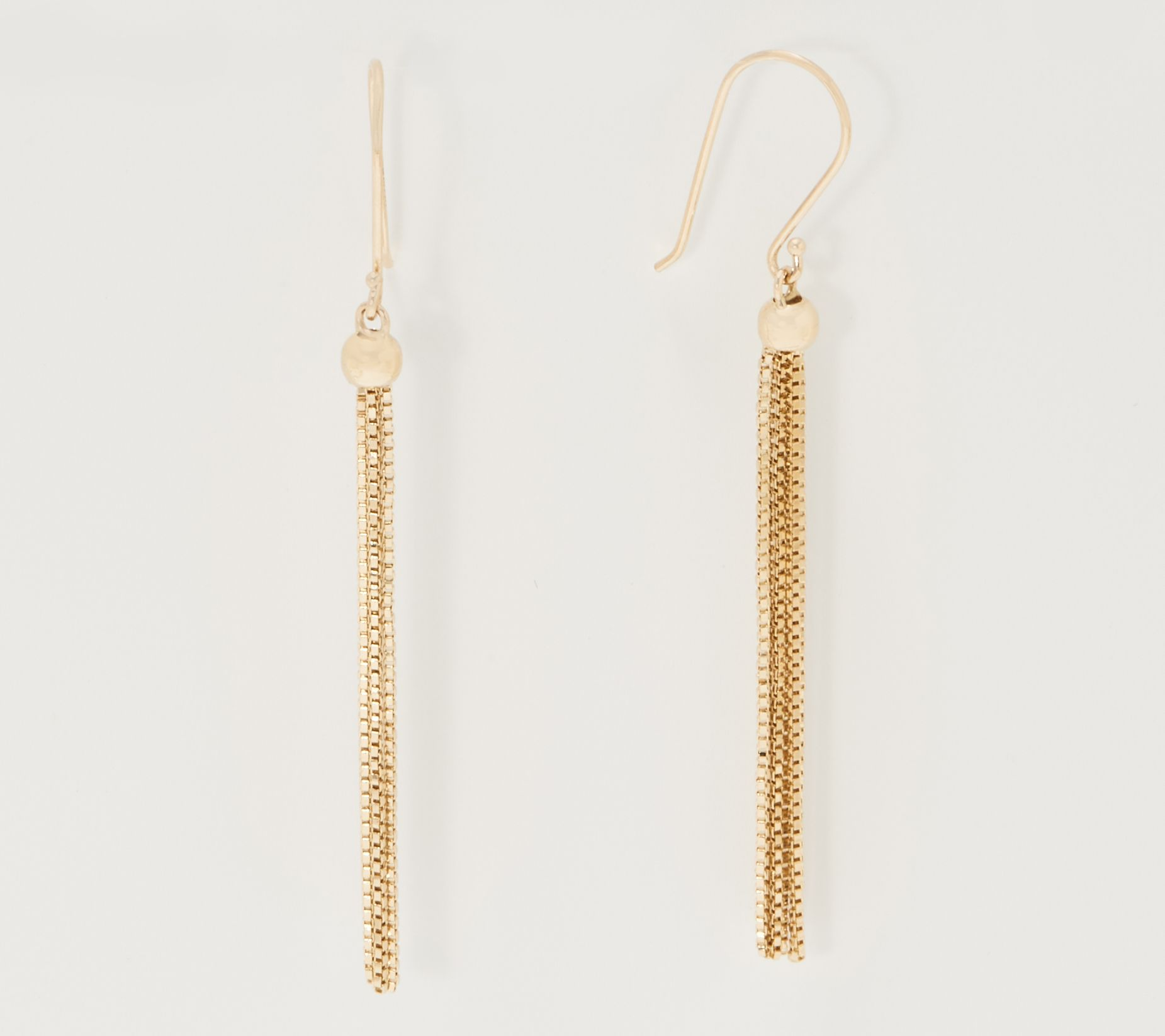 14k Yellow Gold Dangling Earrings, 65mm x 10mm