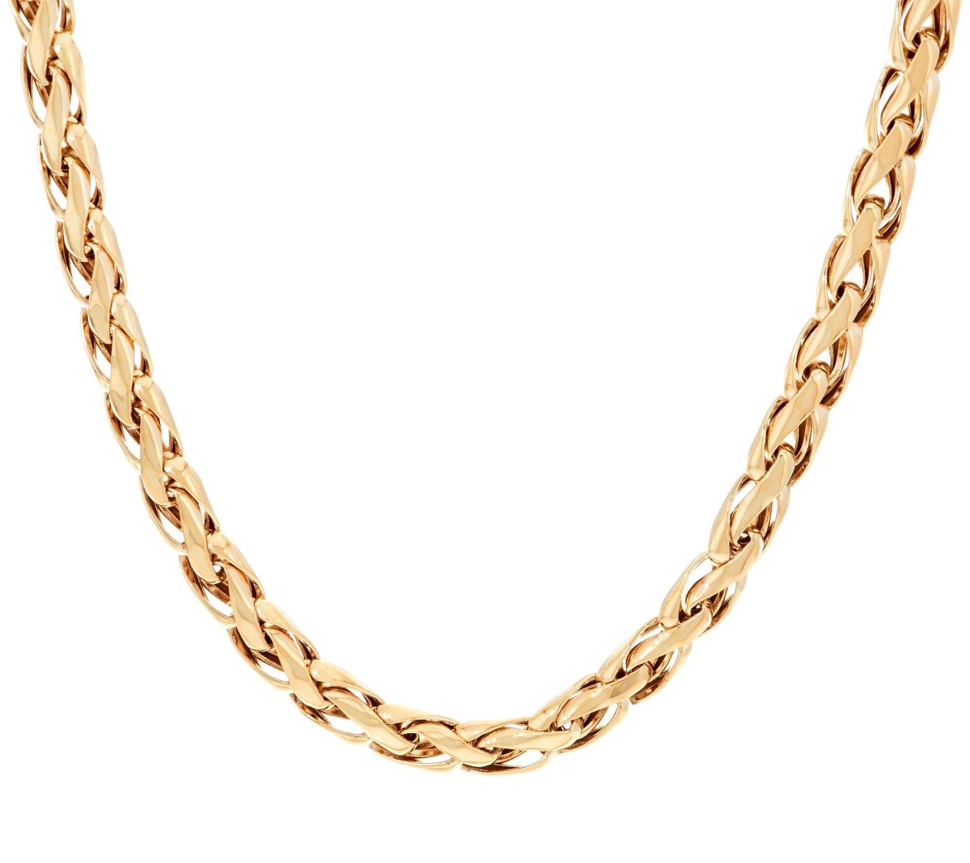 Shiny Wheat Spiga Woven Link Chain Necklace Real 14k