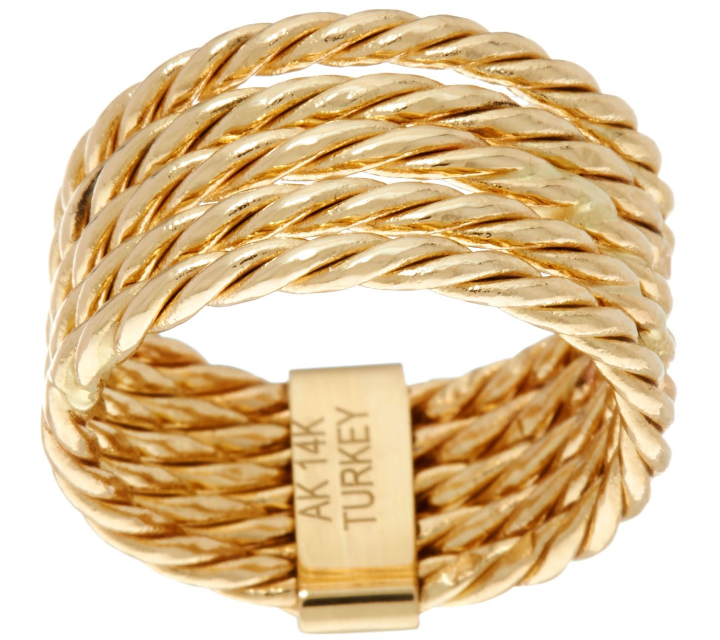 Polished 5-Row Rope Design Stack Ring Real 14K Yellow Gold QVC Sz 5