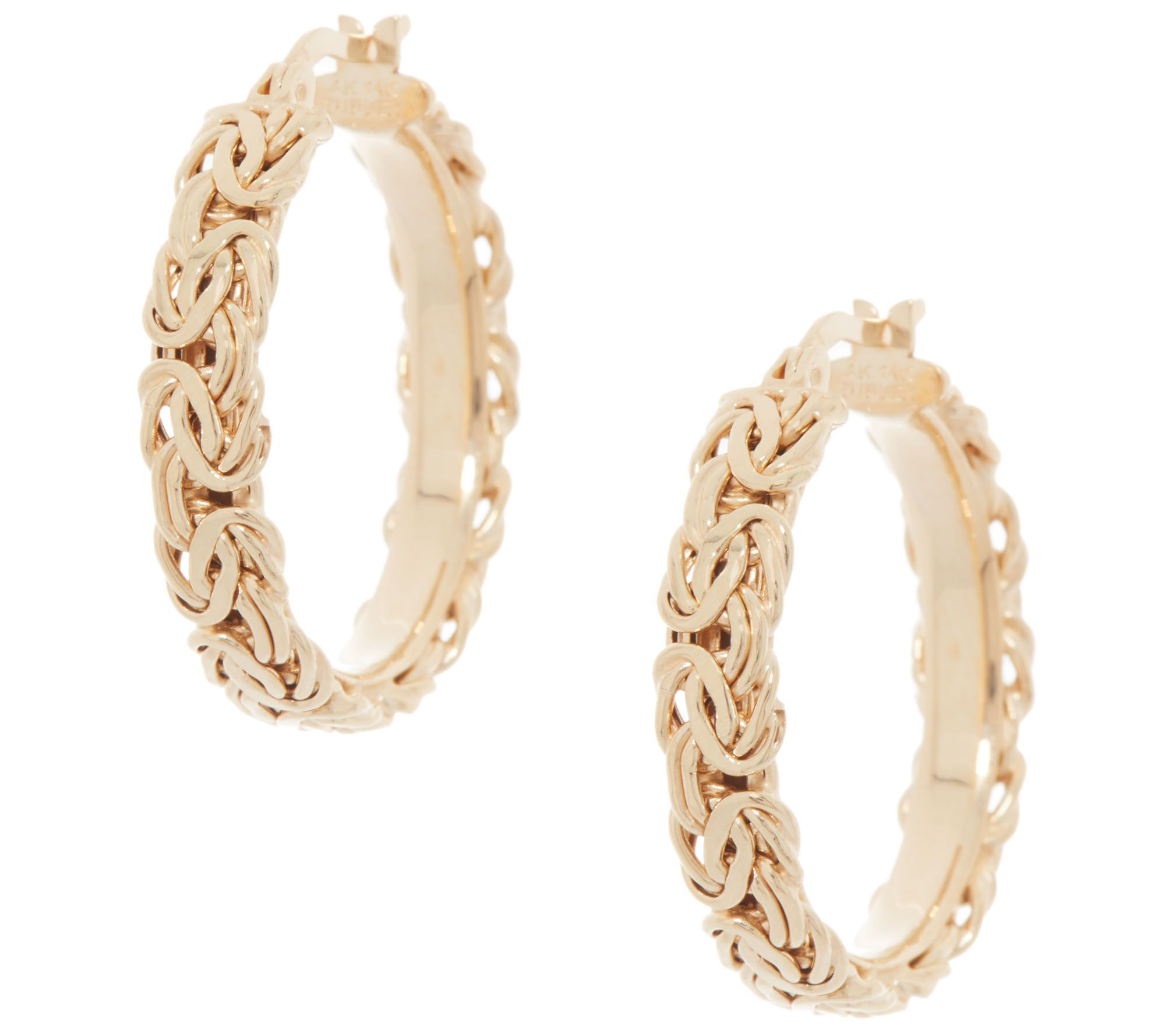 """1/"""" Polished Round Hoop Earrings Real 14K Yellow White Rose Gold QVC 2mm by 25mm"""