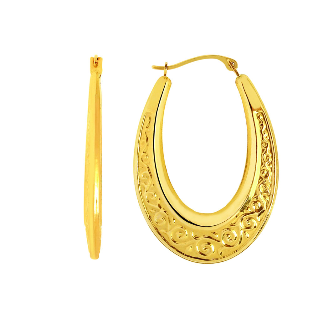 textured graduated oval hoop earrings real 14k yellow gold. Black Bedroom Furniture Sets. Home Design Ideas